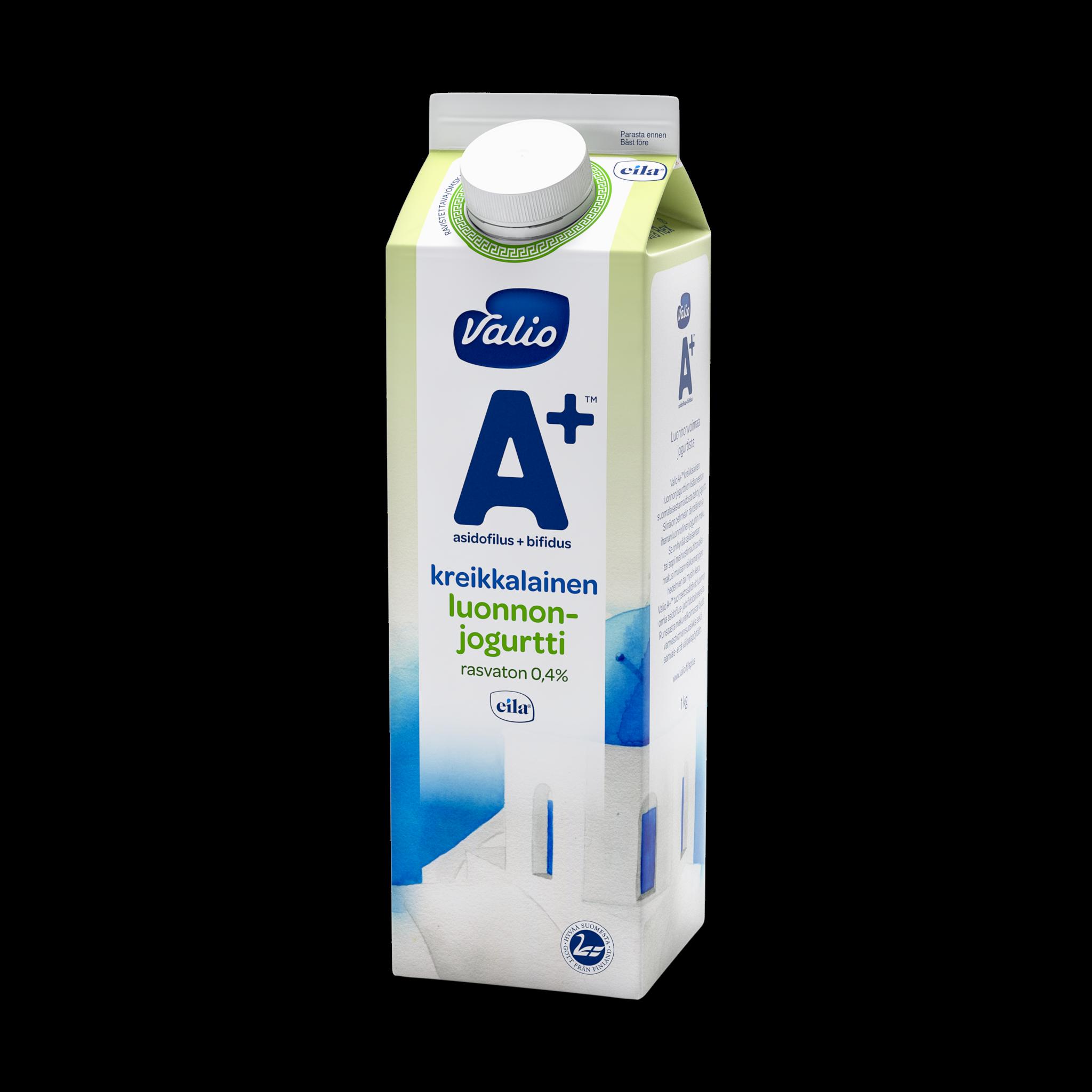 Valio A+™ kreikkalainen luonnonjogurtti rasvaton laktoositon
