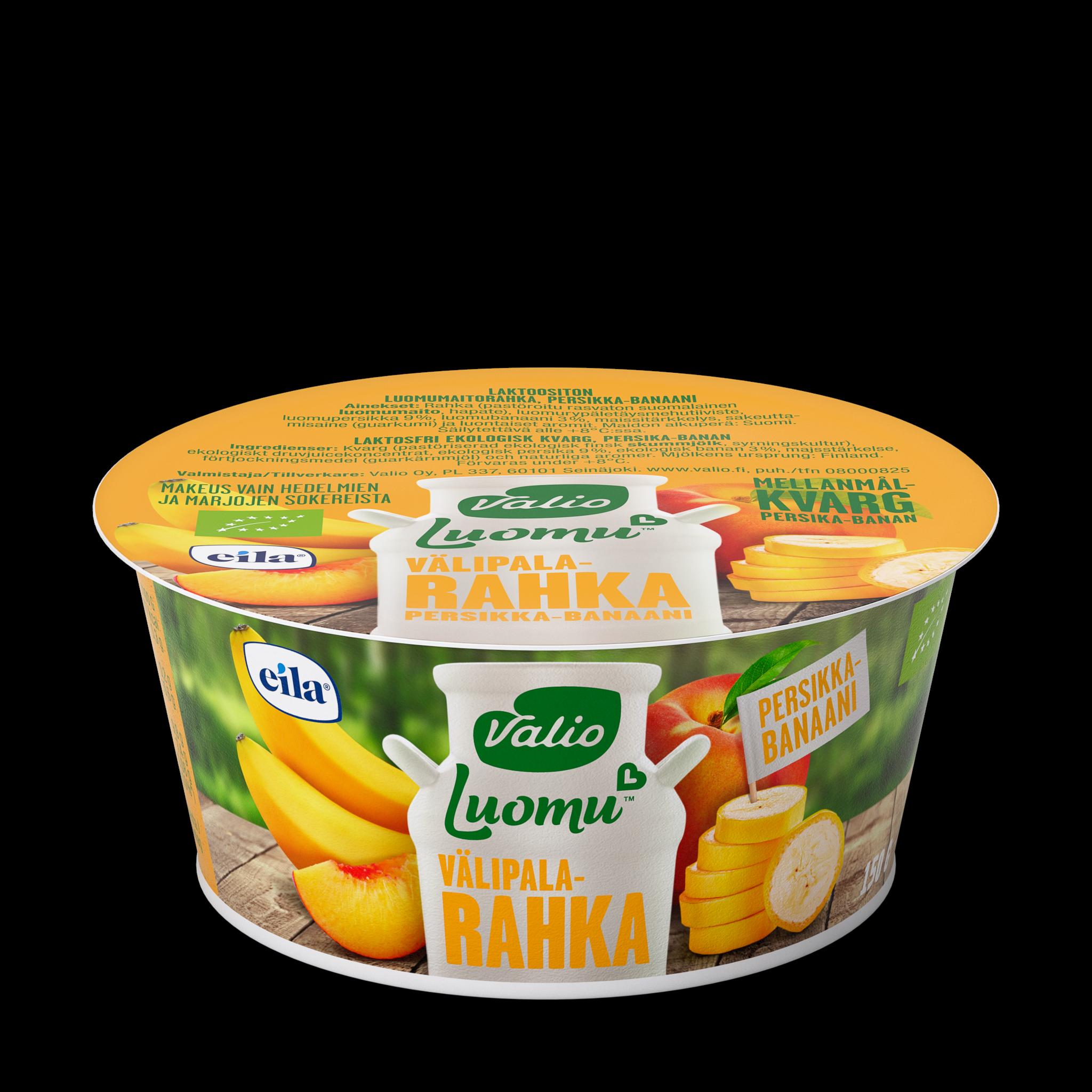 Valio Luomu™ välipalarahka persikka-banaani laktoositon