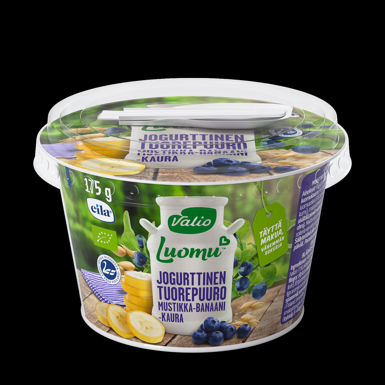 Valio Luomu™ jogurttinen tuorepuuro mustikka-banaani-kaura laktoositon