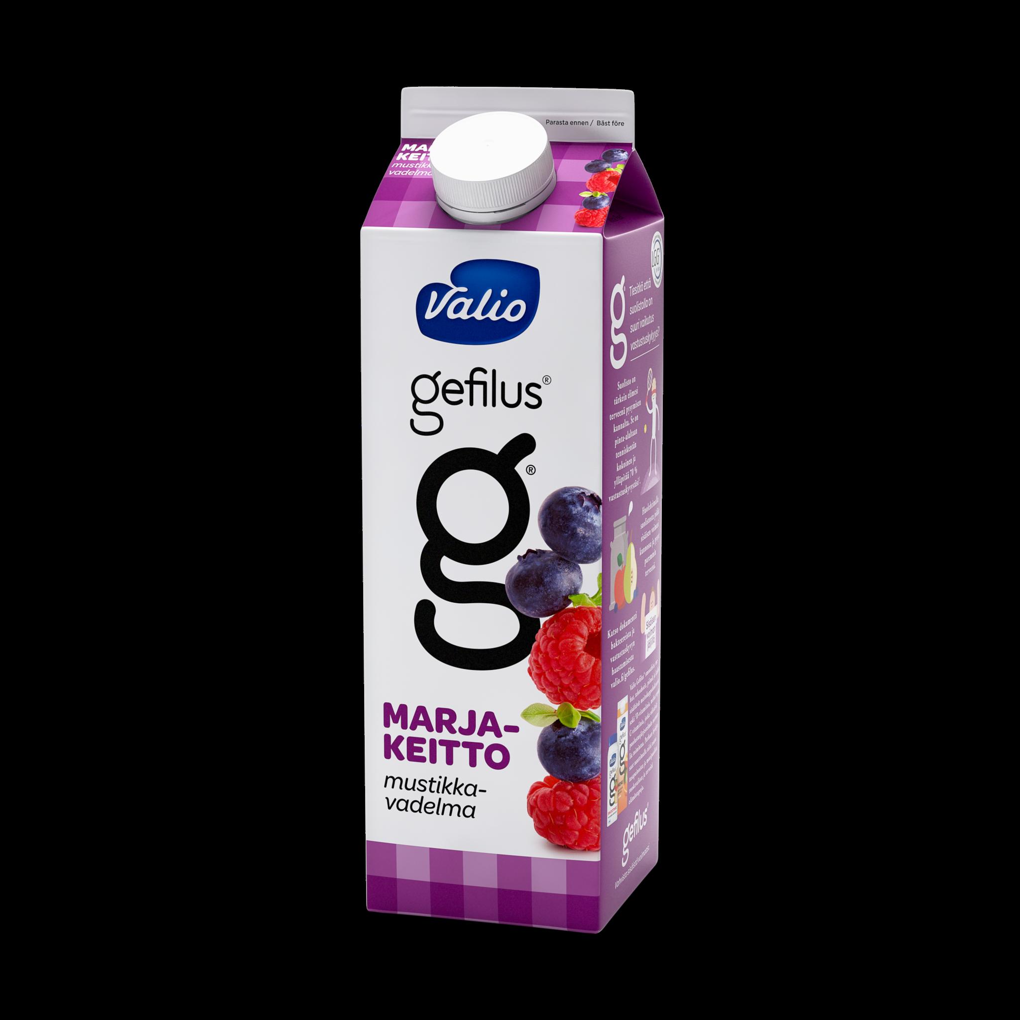 Valio Gefilus® mustikka-vadelmakeitto