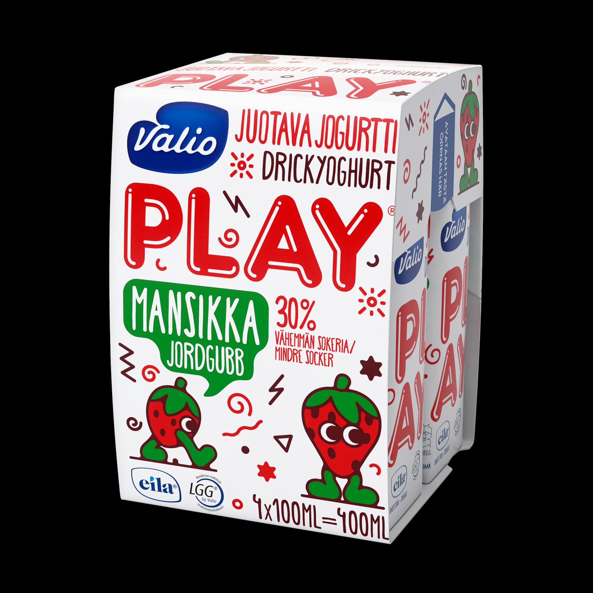 Valio Play® juotava jogurtti mansikka