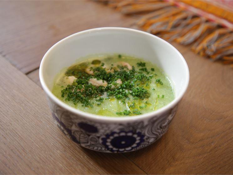 Teemu Laurellin vihreä gazpacho ja marinoidut ravut
