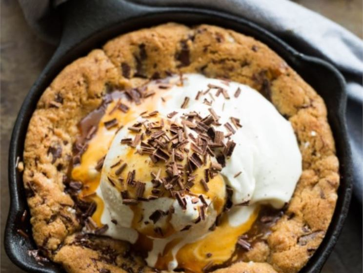 Chocolate Chip Skillet Cookie Sundae for 2