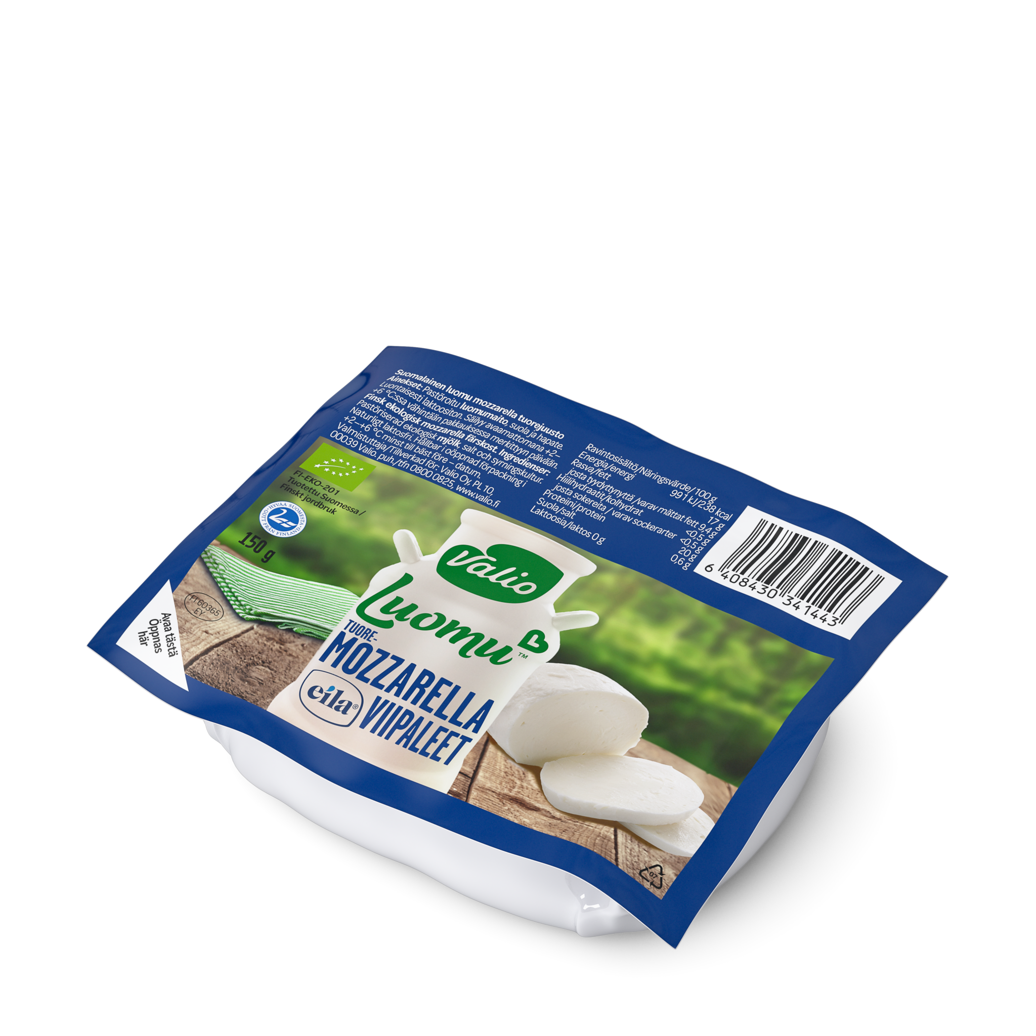 Valio Luomu™ tuoremozzarella viipaleet laktoositon