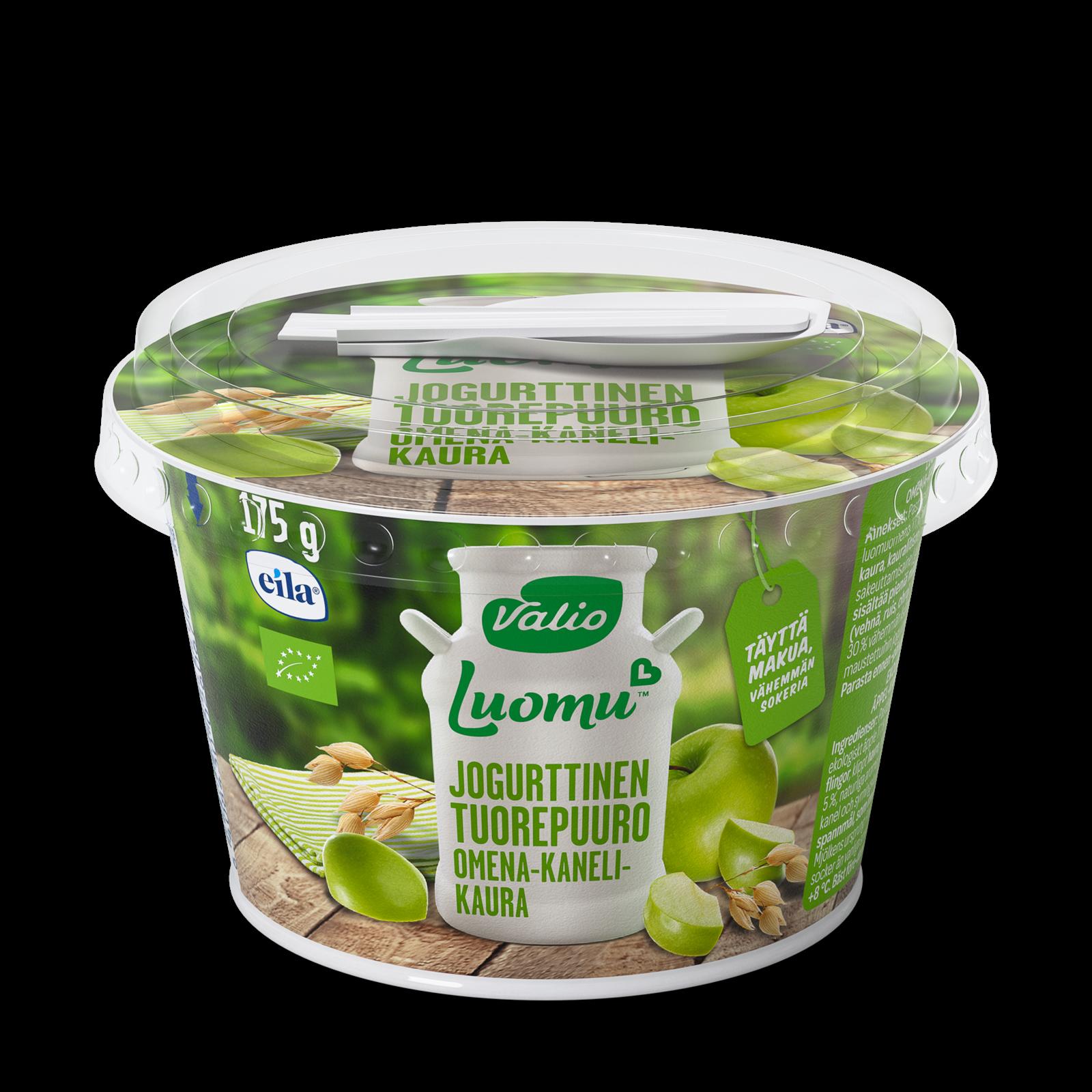 Valio Luomu™ jogurttinen tuorepuuro omena-kaneli-kaura laktoositon
