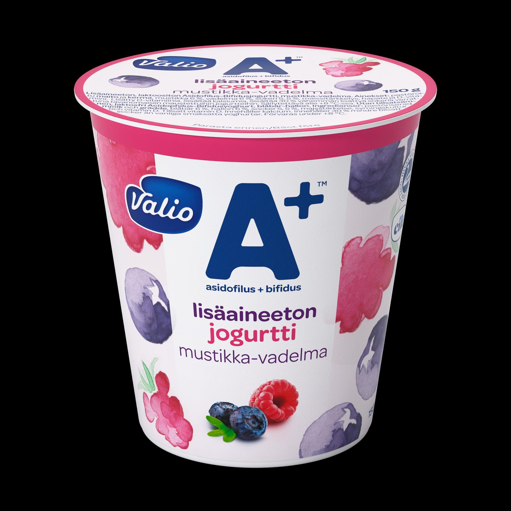 Valio A+™ lisäaineeton jogurtti mustikka-vadelma laktoositon
