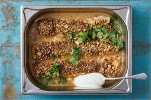 Pähkinäinen kalavuoka (Dukkah)