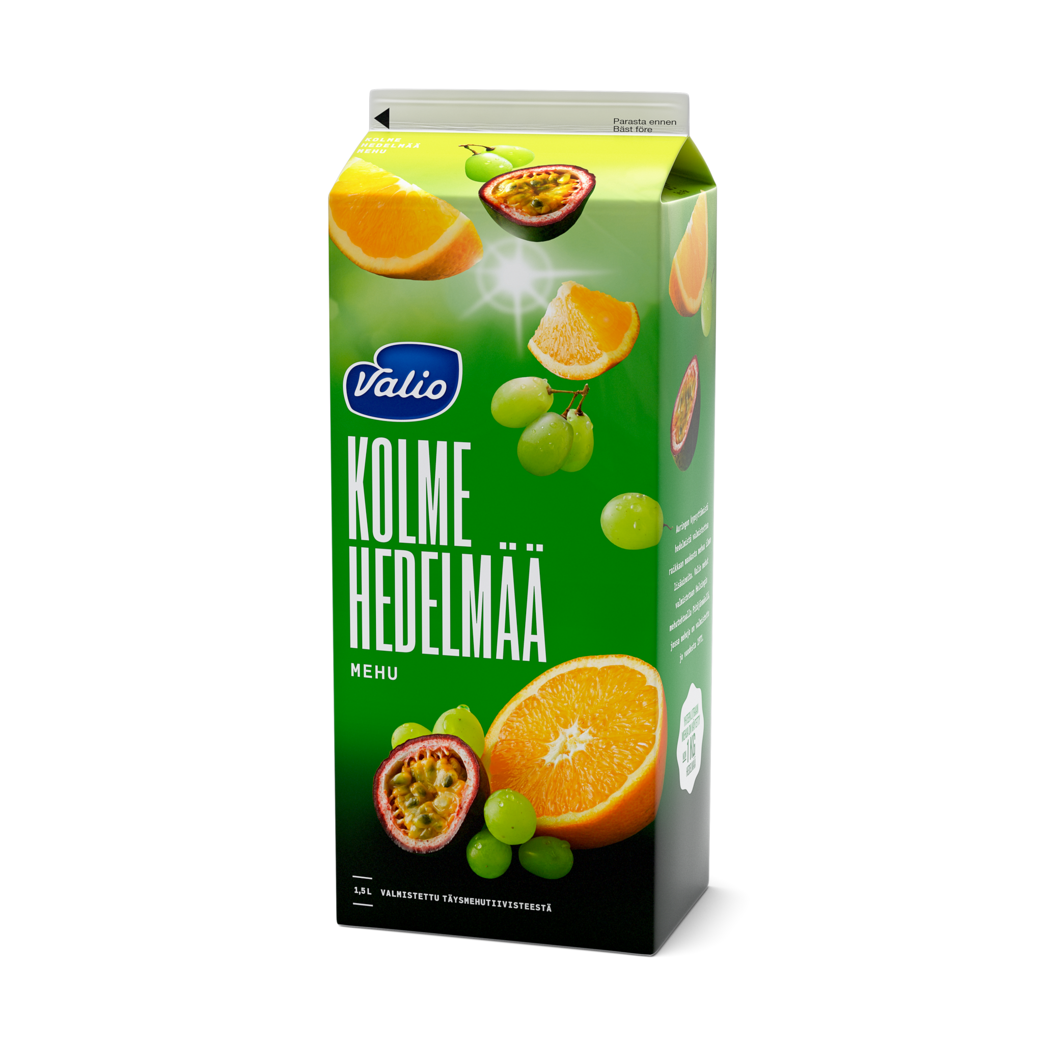 Valio 3 hedelmän mehu (rypäle, appelsiini, passionhedelmä)