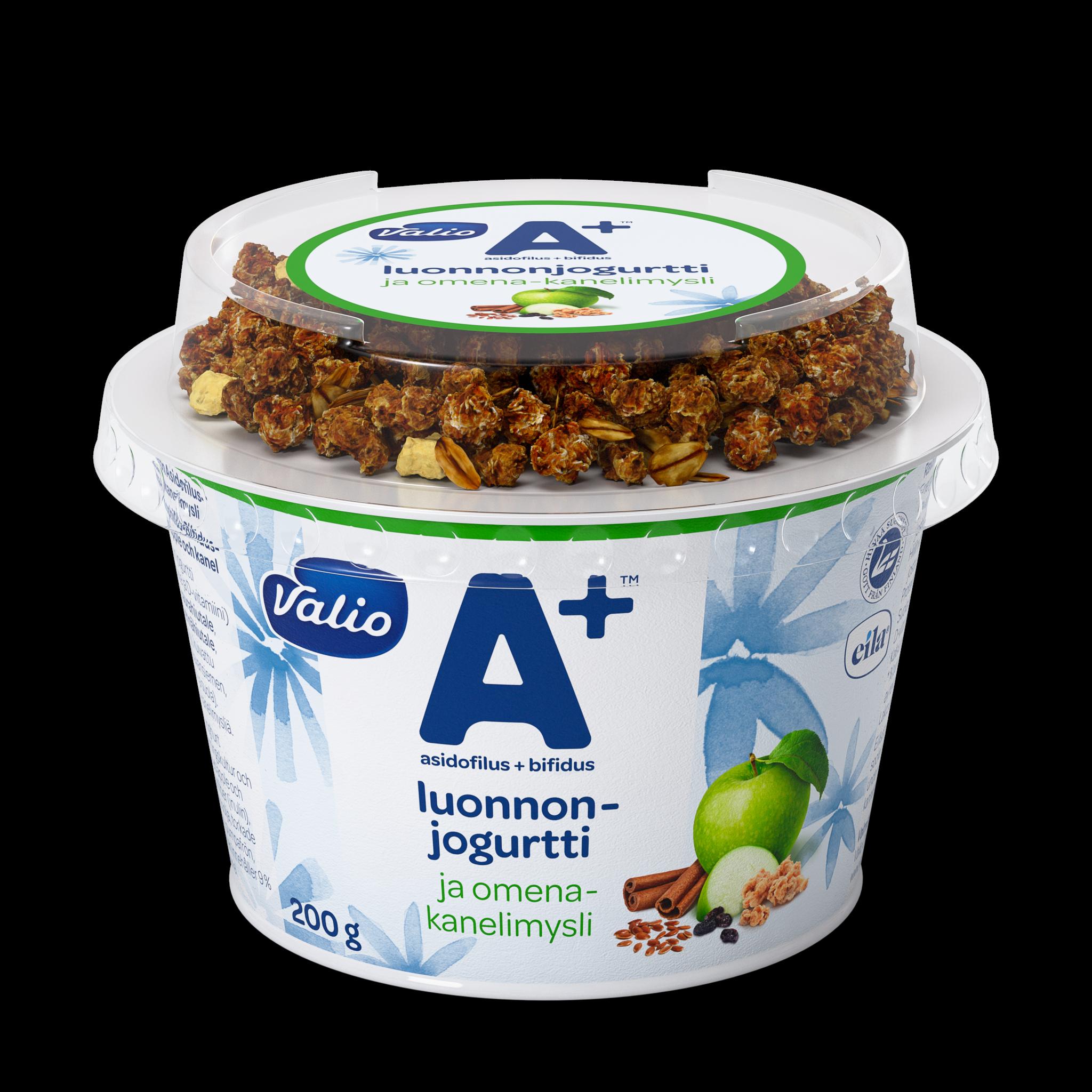 Valio A+™ luonnonjogurtti ja omena-kanelimysli laktoositon