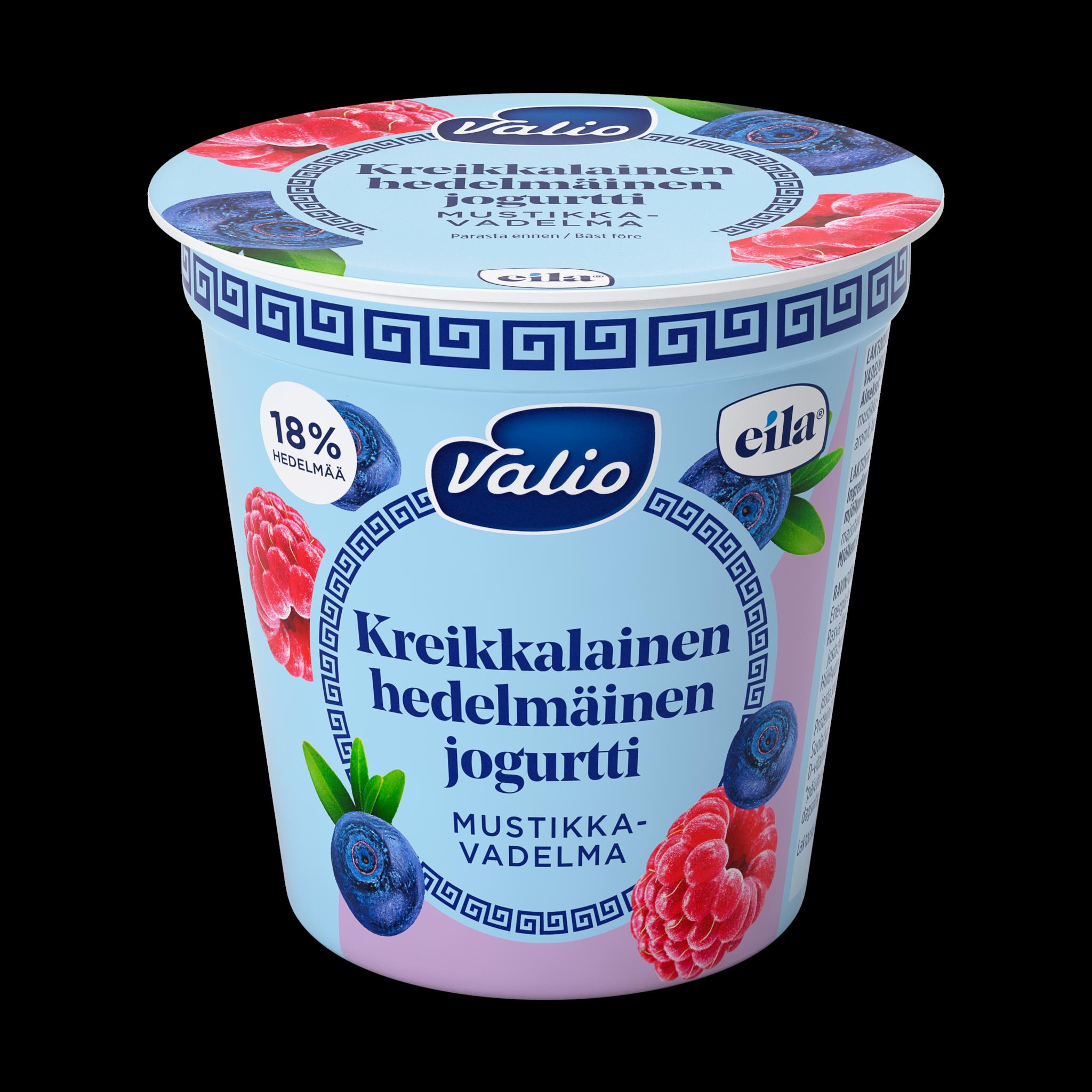 Valio kreikkalainen hedelmäinen jogurtti mustikka-vadelma laktoositon
