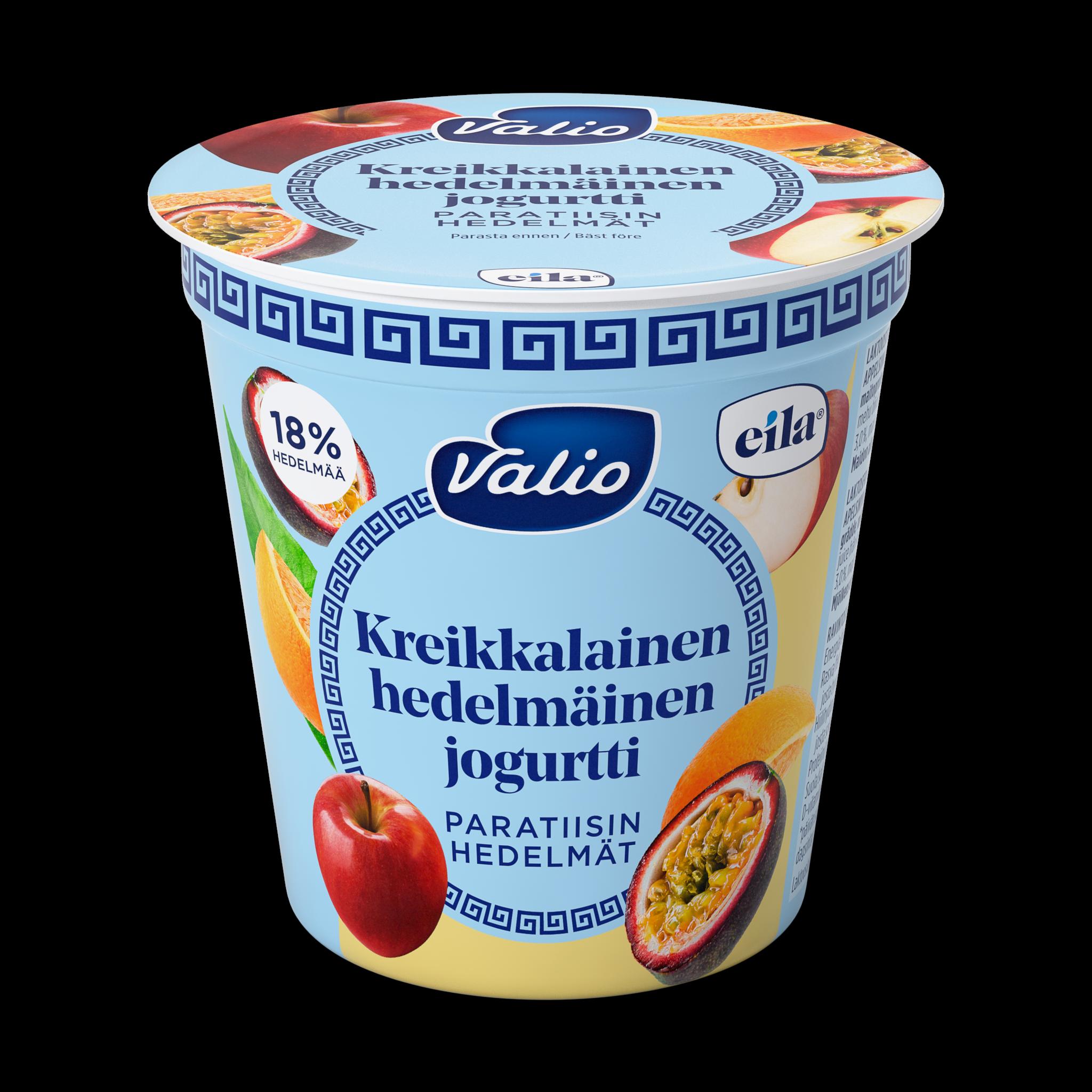Valio kreikkalainen hedelmäinen jogurtti paratiisin hedelmät laktoosit