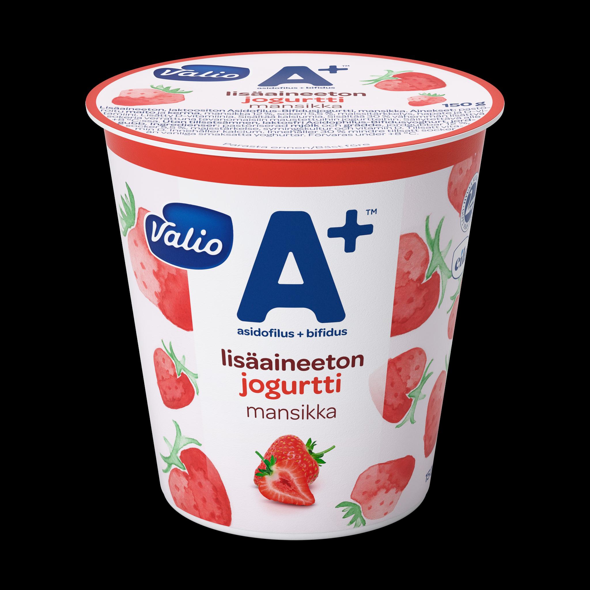 Valio A+™ lisäaineeton jogurtti mansikka laktoositon